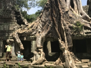 Ross, Ned and Olive at Preah Khan, Cambdia