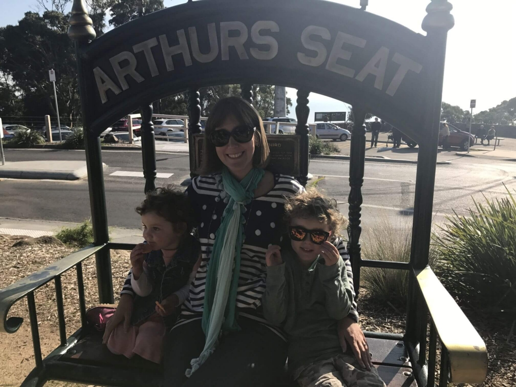 Amber, Olive and Ned at Arthurs Seat