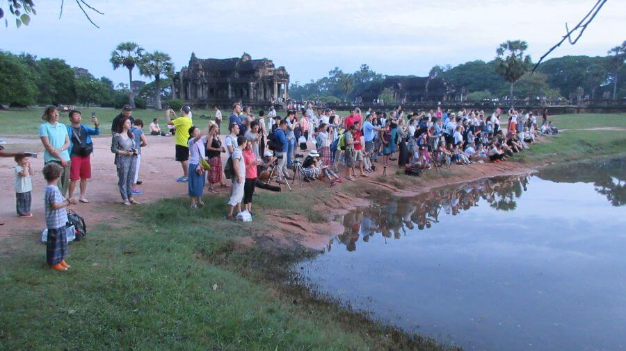 Not a large number of people at Angkor Wat in June