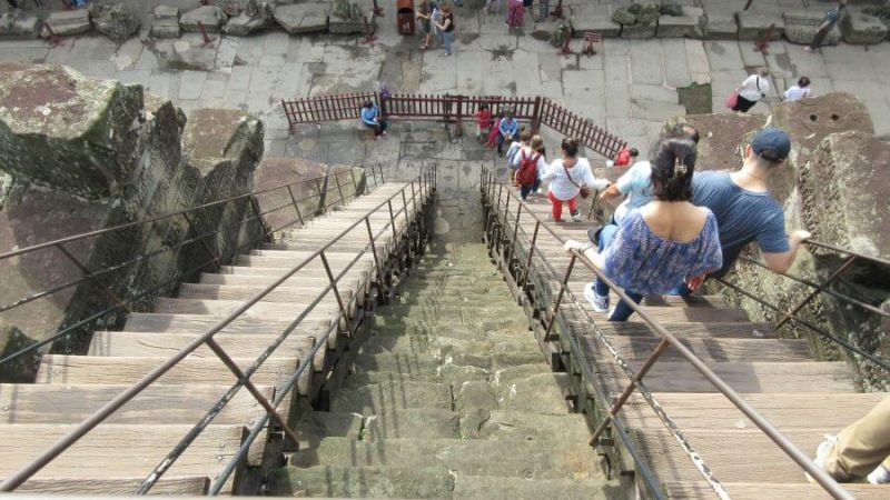 Steep stairs to the Central Tower, Angkor Wat