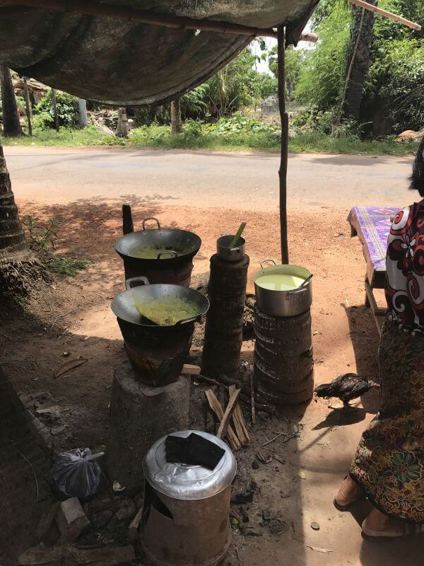 The road side stall Hill Tribe Travels stopped at on our temple alternative tour in Siem Reap with Bees Unlimited - outdoor cooking beside the road