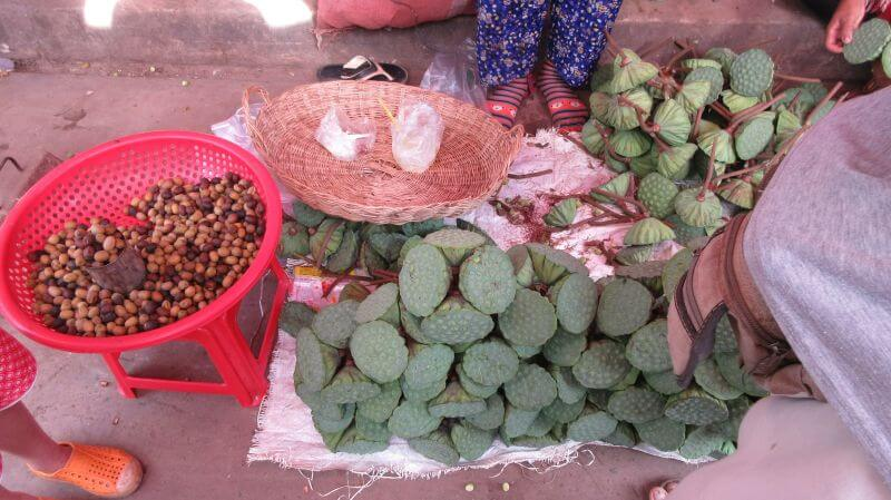 Lotus Seeds - fresh and dried on display. Hill Tribe Travels visited the local market on our Bees Unlimited temple alternative tour, Siem Reap