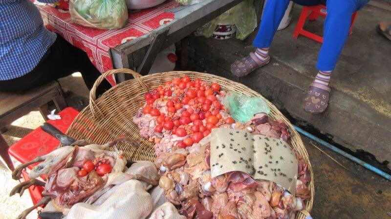 Fresh meat, guts and flies on display at the local market in Siem Reap. Hill Tribe Travels visited the local market on a countryside tour with Dani from Bees Unlimited who runs temple alternative tours