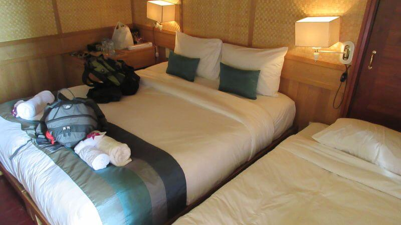 This is the cabin that we (Hill Tribe Travels) shared on our Halong Bay cruise with kids on Bhaya Cruise company - double bed and single rollaway