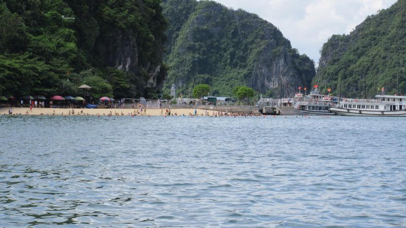 This is the swimming beach on Titov Island, which we visited on our Halong Bay tour with kids - imagine this standing room only! Hill Tribe Travels