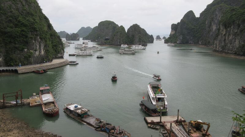 Magnificent scenery from Surprise Cave and all the boats coming in to the bay - Hill Tribe Travels tour of Halong Bay cruise with kids