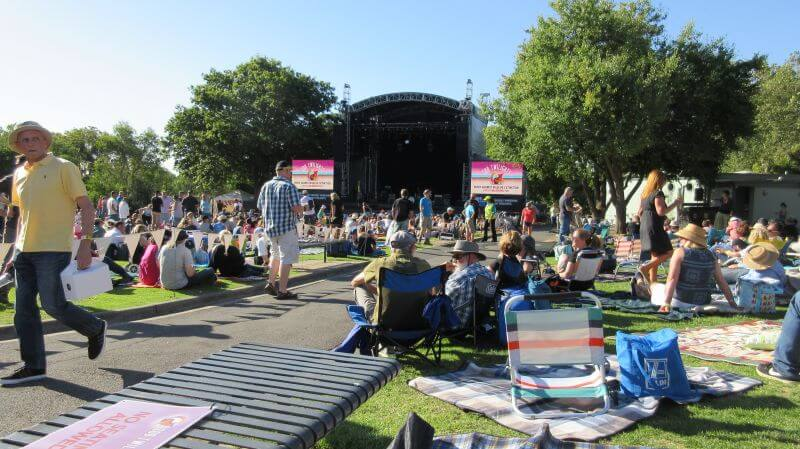 Looking at the stage at the Melbourne Zoo Twilight's concert. Hill Tribe Travels had the perfect viewing spot.
