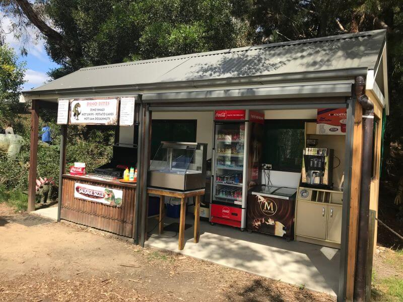 Small cafe onsite at Dinosaur World Somerville where Hill Tribe Travels visited