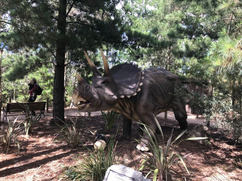 Dinosaur in the gardens of Dinosaur World Somerville which Hill Tribe Travels visited