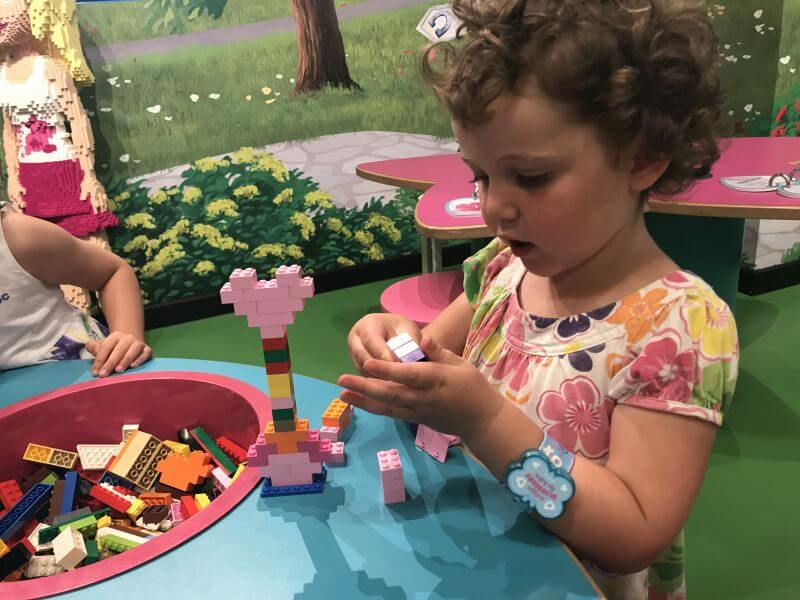 Olive from Hill Tribe Travels enjoying playing with the lego at the Legoland Discovery Centre