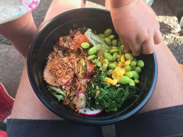 Poke Bowl at the South Melbourne Night Market - kids from Hill Tribe Travels putting there fingers into my food!
