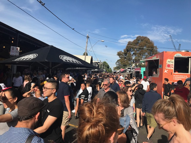 Looking at the crowds at the South Melbourne Night Market