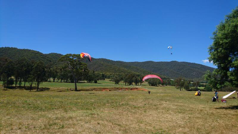 Watching the paragliders coming into land in Bright. Ross from Hill Tribe Travels