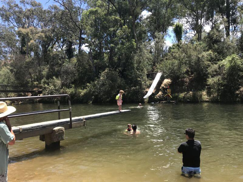 Playing in the river in Bright, lots of opportunities along the river at camp grounds and Porepunkah