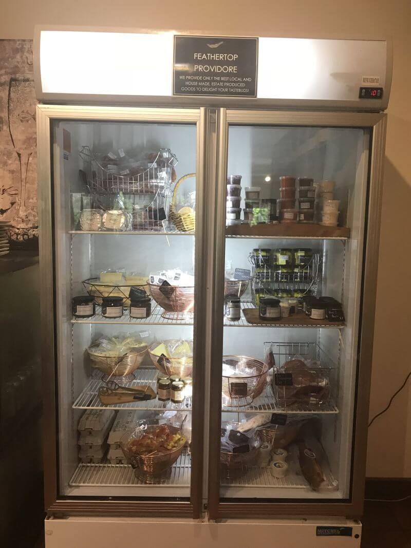 Looking into the produce fridge at Feathertop Winery - a great place to visit on your trip to Bright and surrounds