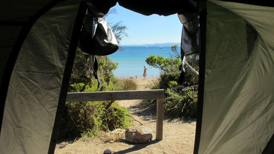 Looking out the tent door towards the beach. Magnificent view from Hill Tribe Travels