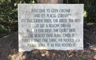 Sign at Glen Cromie. Hill Tribe travels camped here recently