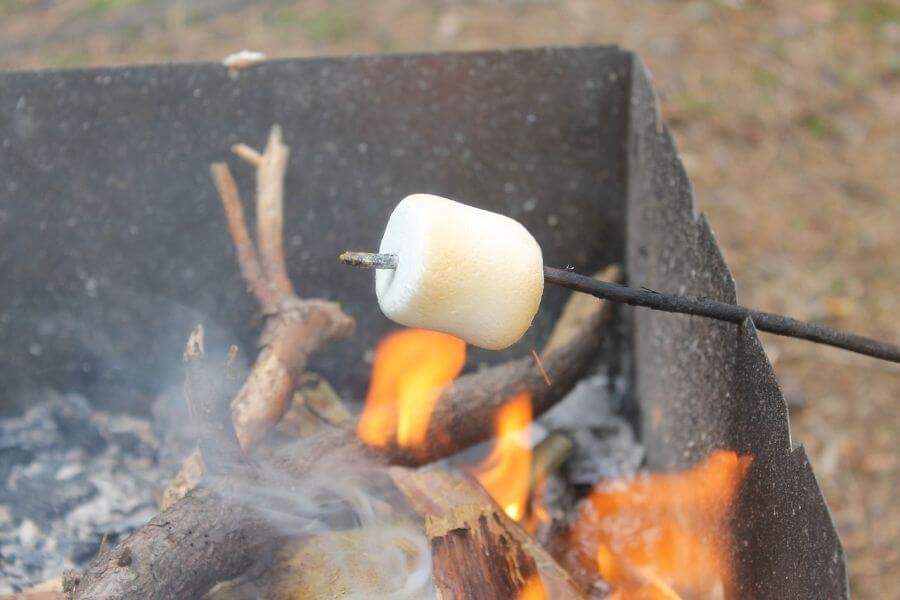 Cooking a marshmellow of the fire. A favourite campfire. A favourite activity for Hill Tribe Travels when camping