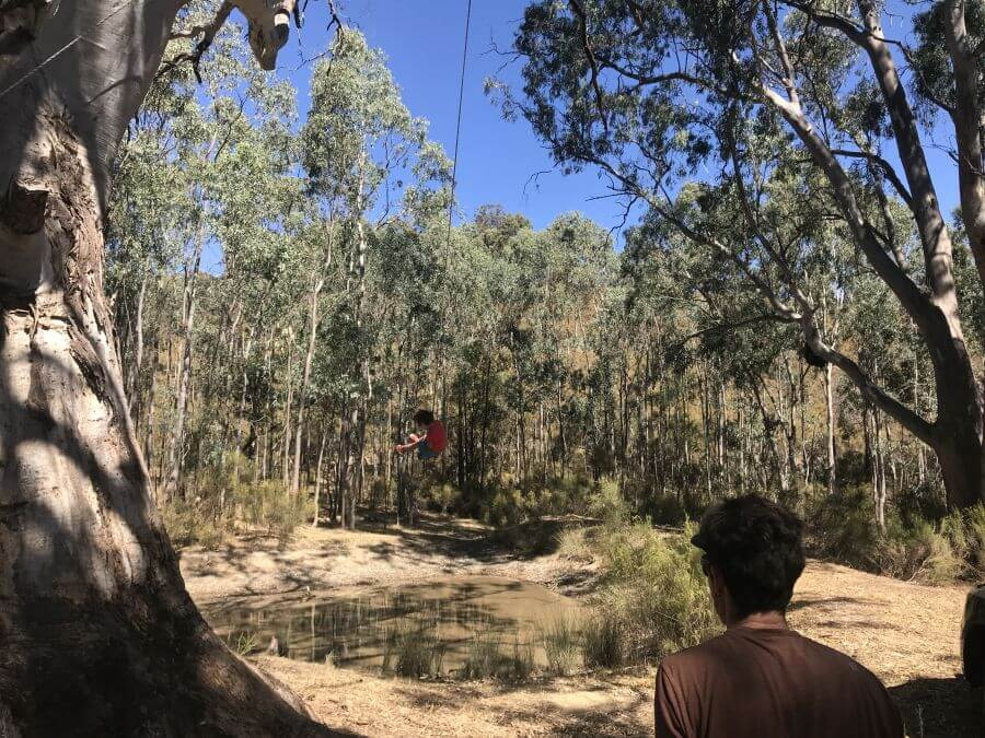 Olive from Hill Tribe Travels swinging near the dam at Seven Hills Tallarook a you camp property