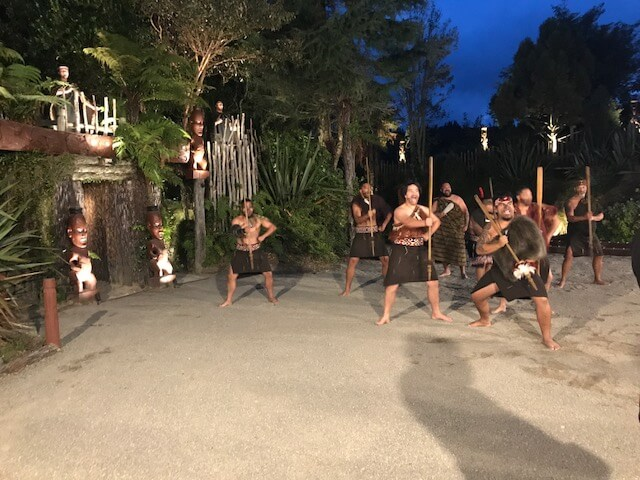 Hill Tribe Travels enjoyed the Maori Cultural Show at the Tamaki Cultural Village. This is the start of the show after the men have arrived off the boat