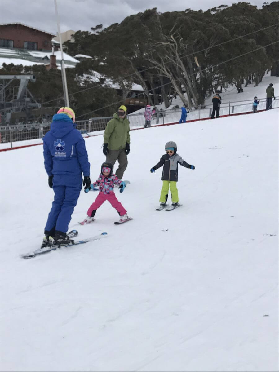 Ned and Olive from Hill Tribe Travels during their ski lesson. Mt Buller Ski School is very well ru.