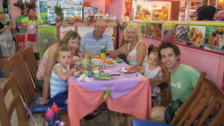Hill Tribe Travels and grandparents enjoying dinner at our favourite restaurant