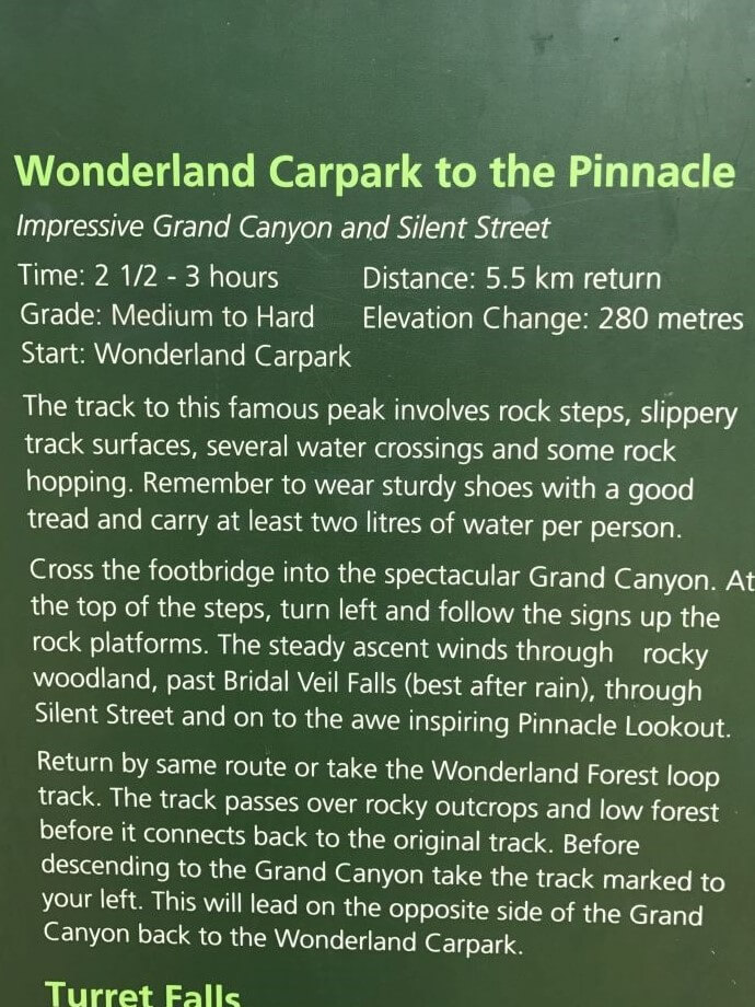 Sign explaining The Pinnacle Walk. A great walk for Kids in The Grampians