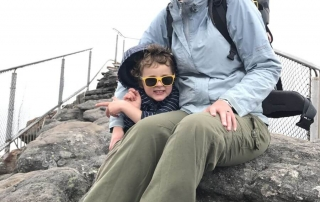 Amber and Ned from Hill Tribe Travels at the top of The Pinnacle. A great walk for kids in The Grampians