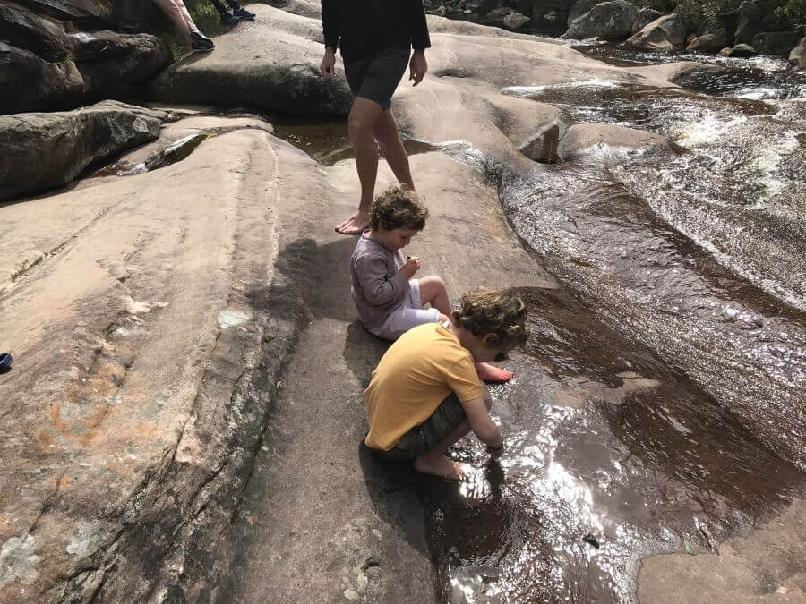 Hill Tribe Travels at Venus Baths - playing in the water. A great hike for kids in The Grampians