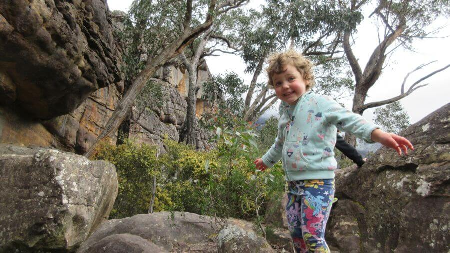 Olive from Hill Tribe Travels on a walk in the Grampians. She thinks there are plenty of good walks for kids in The Grampians