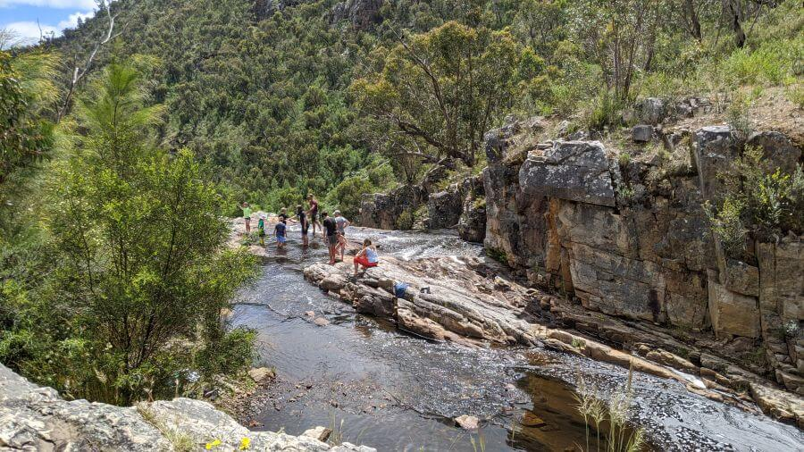 Looks like it drops off but it actually cascades down. Fish Creek Falls - one of the best walks for kids in the Grampians