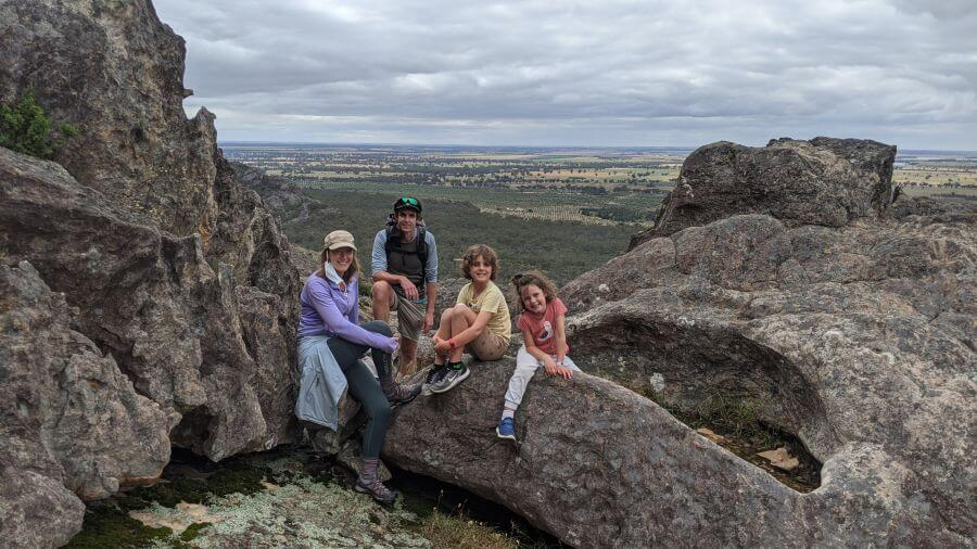 Hill Tribe Travels sitting at the top of Hollow Mountain. Hollow Mountain is a great walk for kids in the Grampians. Family Travel Blog