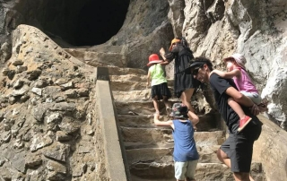 Hill Tribe Travels exploring the Marble Mountains in Da'Nang. Vietnam with kids. Heading up into a cave entrance