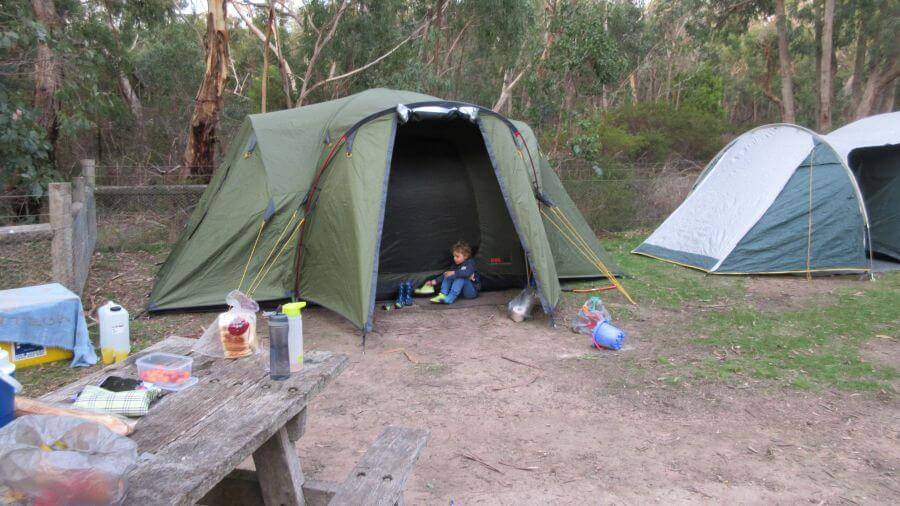 Hill Tribe Travels tent set up at Brisbane Ranges