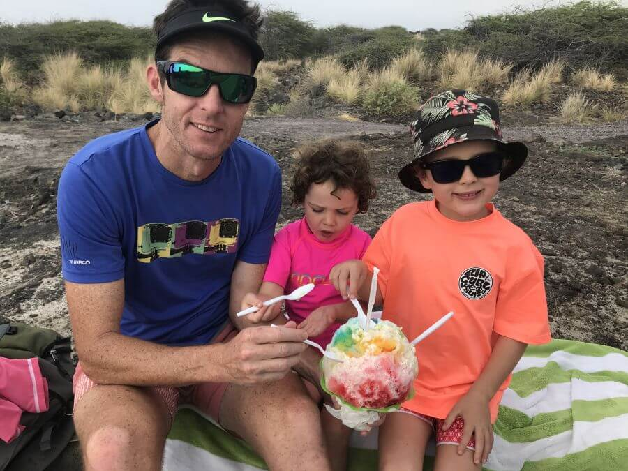 Hill Tribe Travels about to start eating their first every shave ice in Hawaii