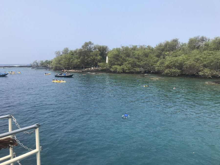 Hill Tribe Travels had a great experience with Fair Wind cruises in Kona, The Big Island, Hawaii. Looking across the bay towards the Captain Cook monument