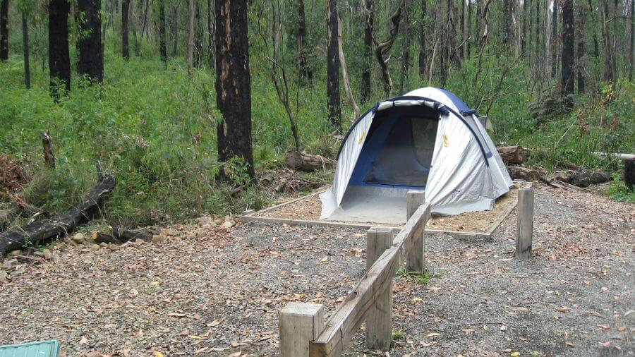 Tent size is an issue at Kinglake National Park - see the raised 'platforms'