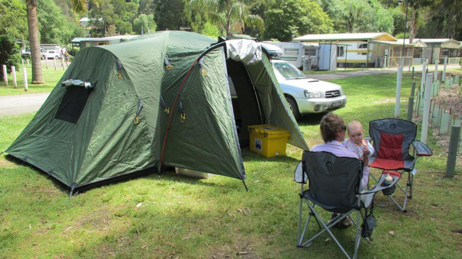 Little baby Ned from Hill Tribe Travels on his first camping trip at Warbuton Camping and caravan park