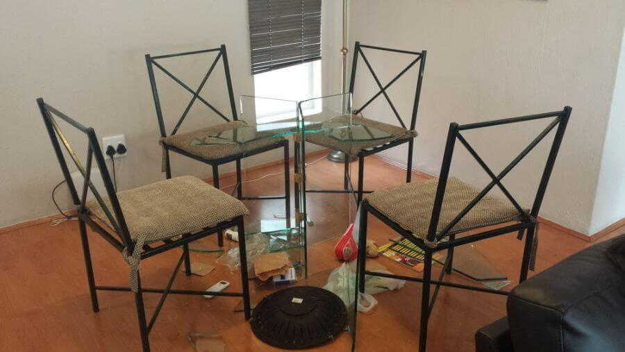 Broken glass table. Part of when travel with kids goes wrong collab
