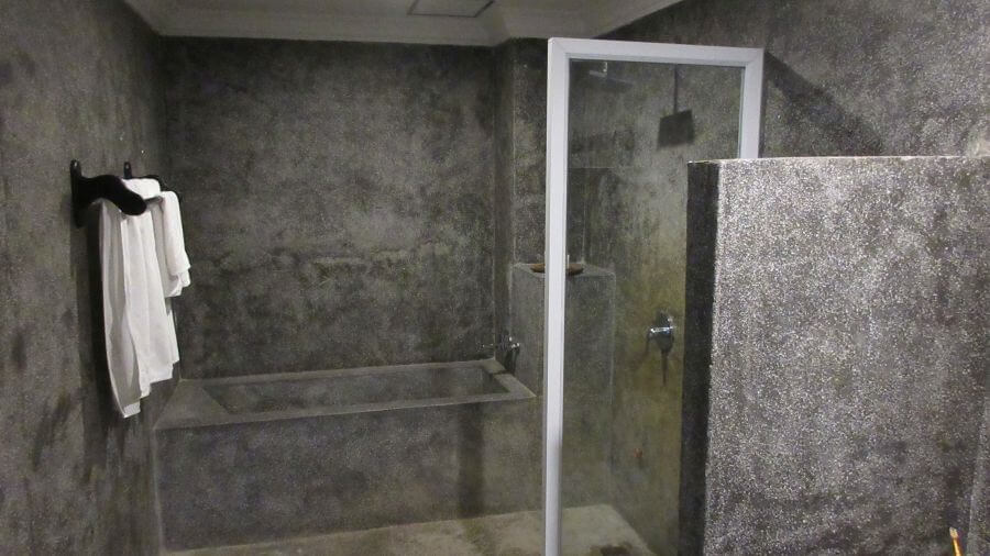 Review of the Khmer Mansion Boutique Hotel Review. Concrete bathroom