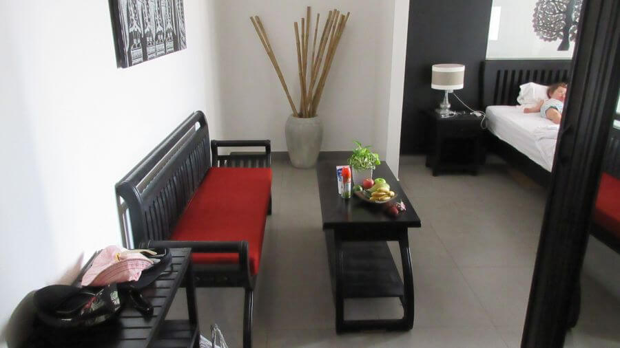 Review of Khmer Mansion Boutique Hotel Review. This is a picture of the room and fruit bowl
