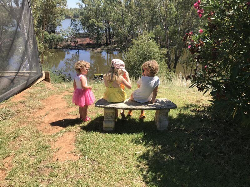 Ned, Olive (and friend) from Hill Tribe Travels at Lake Moodemere a family friendly Rutherglen winery