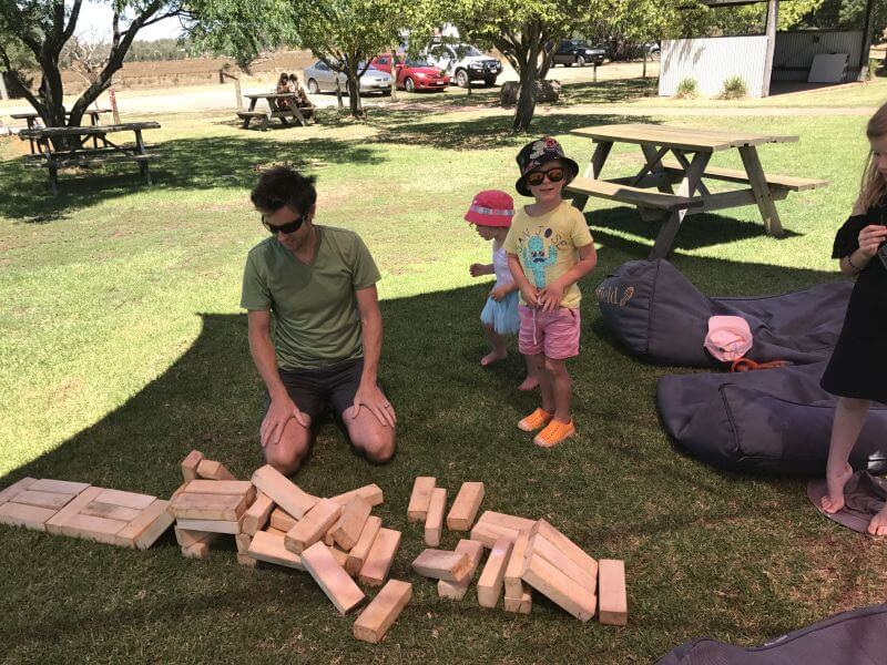Plenty of activities. Even though it was boiling, we stayed for hours. Hill Tribe Travels building using the giant jenga blocks at Cofield Winery. One of Rutherglen Family Friendly wineries