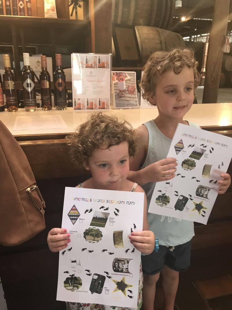 Ned and Olive from Hill Tribe Travels have just completed the treasure hunt around Campbells Winery. Family friendly Rutherglen wineries. A great Rutherglen winery for kids