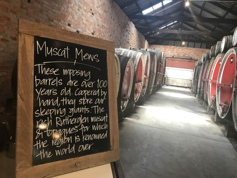 Hill Tribe Travels visited Rutherglen with kids and thought Campbells Winery very family friendly. Here is a picture looking down the length of their barrel room