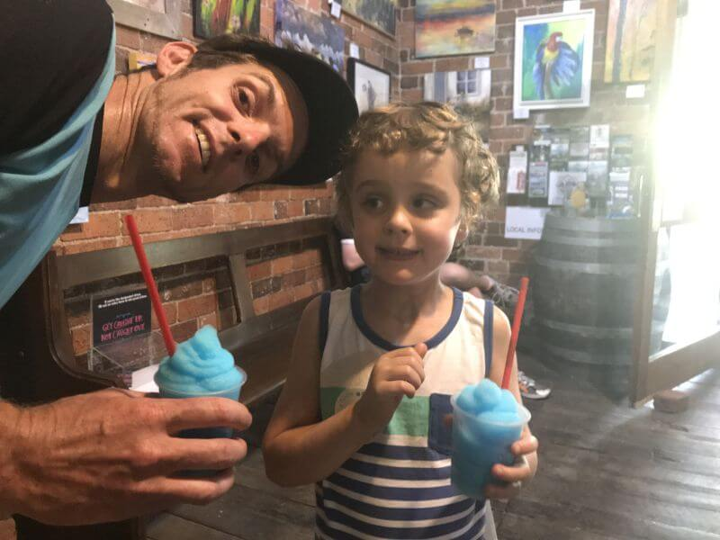 Pfeiffer Wines. Definitely a Rutherglen family friendly Winery. Rutherglen winery for kids. Ross and Ned here with their slushies to keep them cool