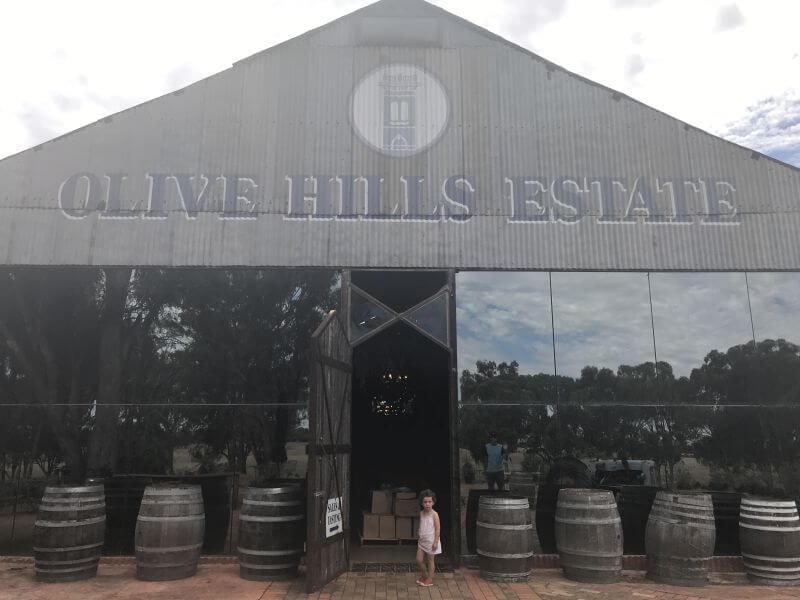 Olive from Hill Tribe Travels standing out the front of Olive HIlls Winery. Rutherglen for kids. Family friendly Rutherglen wineries