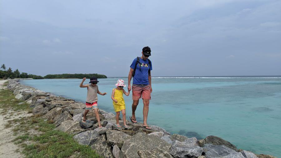 Hill Tribe Travels visited Thulusdhoo Island. Exploring Maldives Island. Budget Maldives. Rock Wall. Local Maldives Island