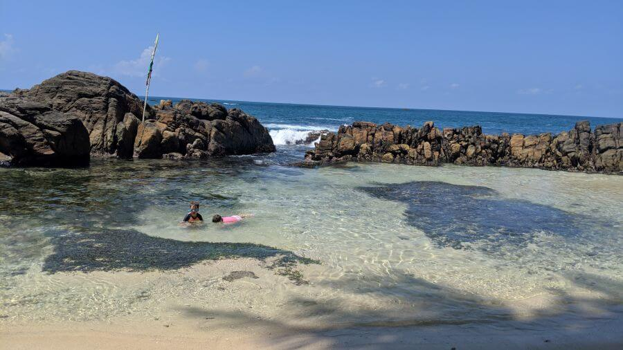 Hill Tribe Travels visiting Secret Beach Mirissa Sri Lanka. Here are Ned and Olive swimming looking for fish at the lagoon at Secret Beach Mirissa