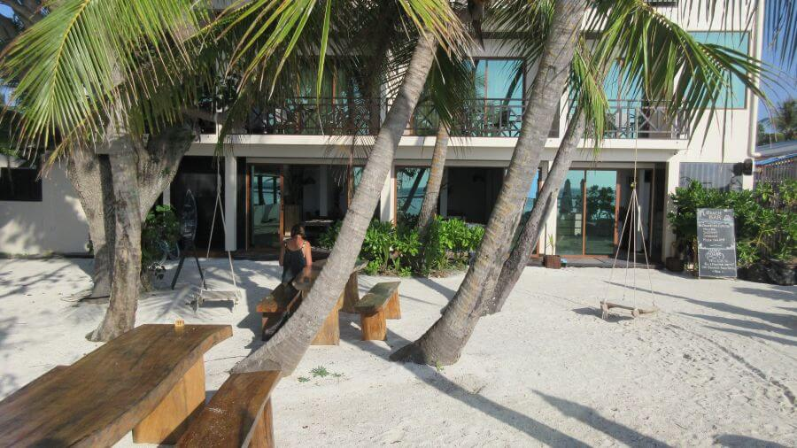 Hill Tribe Travels visited Canopus Retreat on Thulusdhoo island. A local island in the Maldives. Family Friendly. Budget Maldives. This is the front of the hotel.